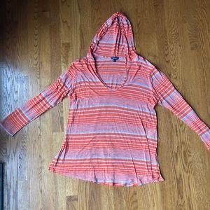 Splendid orange and gray striped LS hooded shirt M